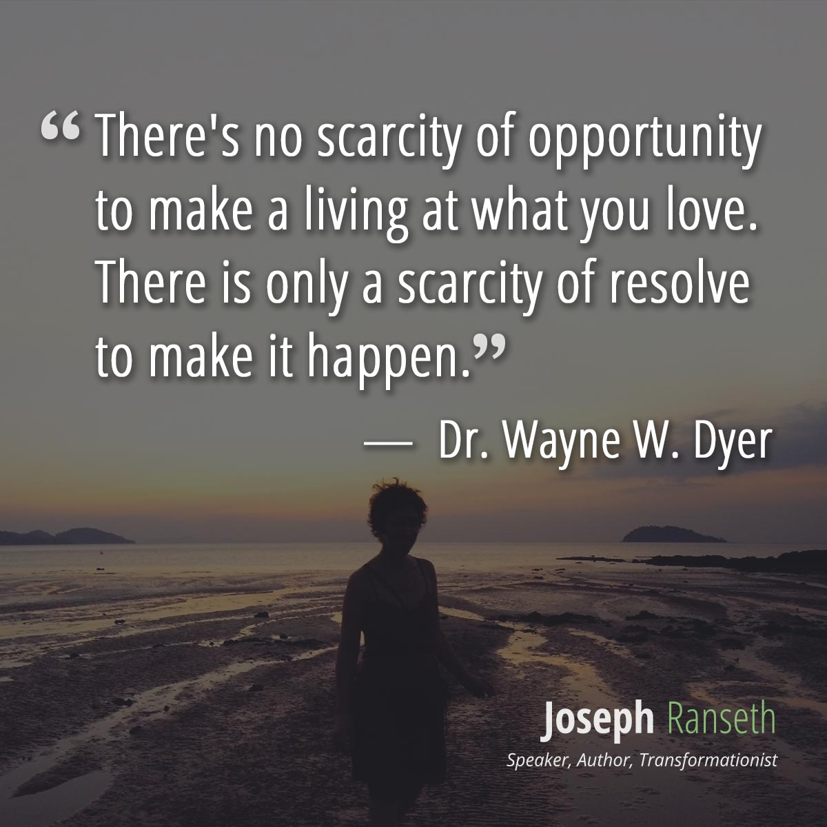 There's no scarcity of opportunity to make a living at what you love There is only a scarcity of resolve to make it happen