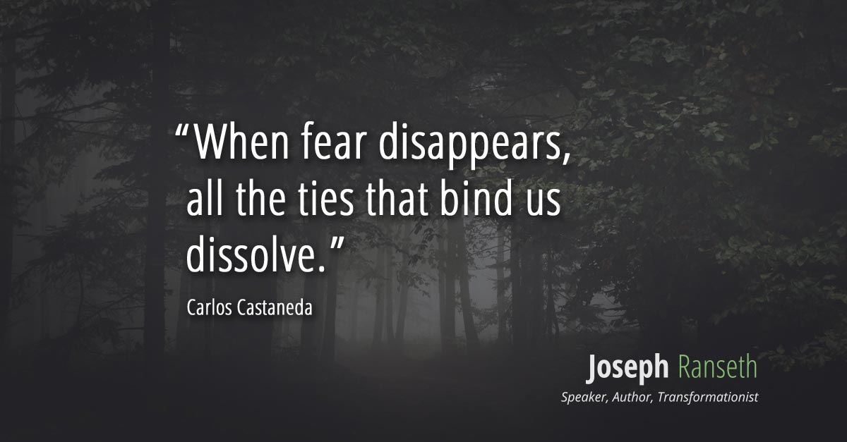 When fear disappears, the ties that bind us dissolve. - Carlos Castaneda
